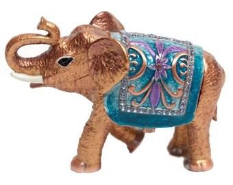 Jewelry box for girl Faberge style trinket box Elephant with Austrian crystals - kodfb9