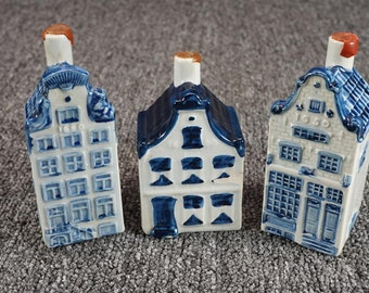 Vintage Delft Rinebende Bottle Houses Set Of 3