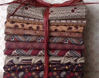 Shades of Brown Bundle of 12 fat quarters.