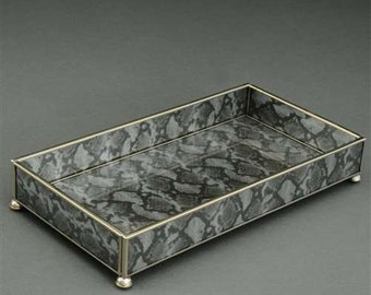 Silver Python Metal & Glass 6 x 12 Tray