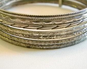 Classic Gypsy Silver Tone Bangle Bracelets - set of 7