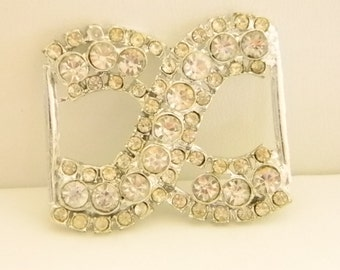 Silver Tone Clear Rhinestones Hair Barrette Belt Accessory
