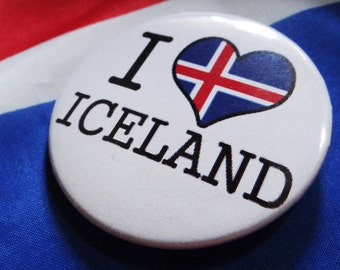 I Heart Iceland Pin; I Love Iceland Pinback Button