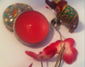 Red candle craft floral flavor//box Hindu/box jewels//DIY//present Mother's Day//red//pink//paste