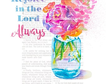 Bible Page Art, Rejoice in the Lord