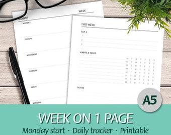 A5 - EN - Week On One Page, Top 3, Habits & Tasks Tracker, Notes, Undated Weekly Insert - Printable Planner Insert, PDF