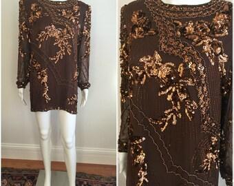 Stunning COPPER Vtg 1980s OLEG CASSINI Mini Dress Boho Sequins + Beading  S M