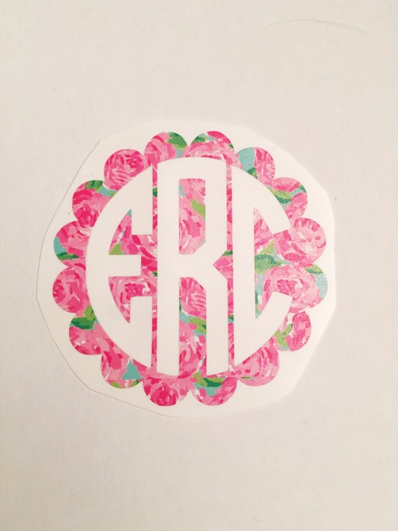 Scallop Lilly Pulitzer Monogram Decal - Choose Your Size & Pattern