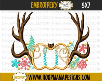 Pumpkin Applique with Antlers and Flowers 4x4 5x7 6x10 Size Machine Embroidery Design pes jef dst hus vip vp3 xxx exp pec