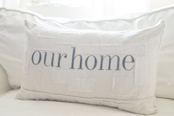 Our home grain sack style pillow cover. Available in 16x16, 18x18, 20x20, 16x26 and 16x24. Patches are optional.