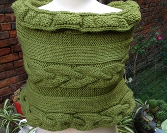 Wrap, knit wrap, capelet, knit shoulder wrap, green scarf, knit cowl, cable knit wrap, chunky knits, fall accessories, knit cape, shrug
