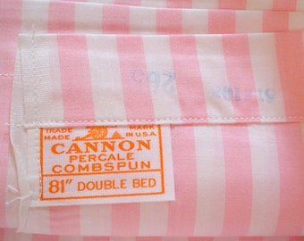 Perfect Pink Stripe Cotton Cannon Vintage Full Flat Top Sheet Striped Vintage Awning