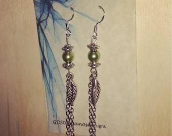Handmade green dangle leaf earrings