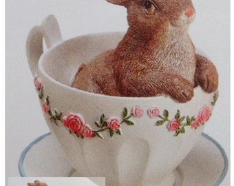"""New Bunny in a Tea Cup, Decorative Tea Cup with Bunny, Bunny Decor, Tea Cup Bunny 3.5"""""""