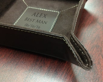 Leather Catch-All - Personalized Travel Organizer - Engraved Catch-All - Personalized Free - Groomsmen Gift