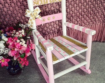 Child's Rocking Chair, Kids Rocker, Kids Sized Chair, Hand-painted Rocking Chair, Pink and Gold Nursery Decor