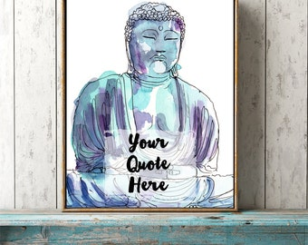 custom quote Buddha printable wall art Buddhist personalised words name lyrics blue watercolor print your own modern room decor