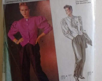 Vintage 1980's Burda 6397 Collection Speciale Sewing Pattern Puff Sleeve Crop Fitted Jacket and Trouser Pants Suit