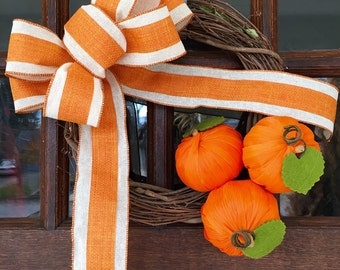 Orange Pumpkin Fall Wreath with Ivory and Orange Burlap Bow