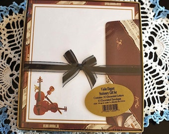 Vintage Music Writing Paper Gift Set Unopened / Pratt & Austin Co. /Music Note Paper / Violin Note Paper / Boxed Music Note Paper
