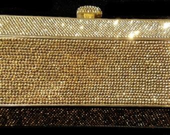New Gold With Amber Austrian Rhinestone Hard Clutch Handbag