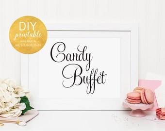 PRINTABLE Wedding Candy Buffet Sign, Wedding Candy Bar Sign, Wedding Candy Table, Wedding Dessert Table Sign, Wedding Dessert Sign, WFS04