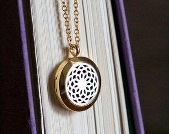 Gold & Silver Stainless Steel Necklace, Diffuser Necklace, Aromatherapy Necklace, Womens, Necklace, Girls Necklace, Necklace, Gold, Silver