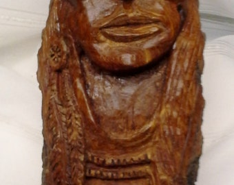 Large Cottonwood Bark Hand Carved Native American Indian Wood Carving