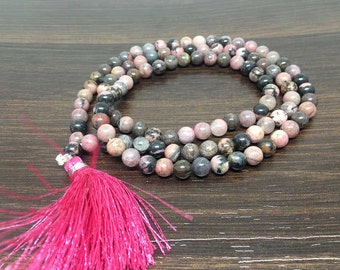 One (1) Rhodonite Mala 6mm with 108 Prayer Beads for Meditation Rhodonite Jap Mala Prayer Mala Rhodonite Mala