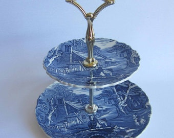 James Kent OLD FOLEY Blue and White English Country Scene 2 Tier Tid Bit Tray