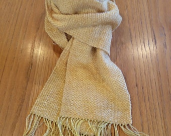Handwoven gold chenille scarf