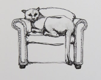 "Cougar on Chair Print - ""Domestic Wildlife"" Series"