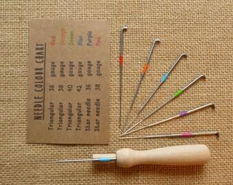 Felting handle + 6 needles - felting needles - star felting needles - triangular felting needles +chart - needle handle - needle holder