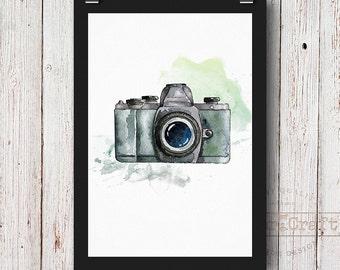 Camera watercolor Snapshot Photocamera Handpainted watercolor printable Photo Instant download Printable wall art Art print