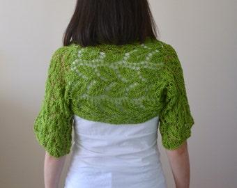 Cotton Hand Knit Green Bolero, Pistachio Green Wrap, Lace Bolero, Lace Wrap, Shrug, Cotton Wrap, Bridal Bolero Jacket, Wedding Shrug