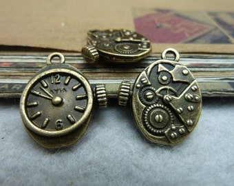 20 Clock Charms Antique Bronze Tone 2 Sided - DYS7035