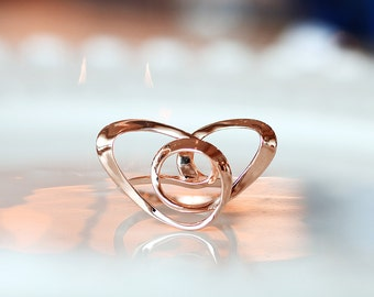 Knot Heart Ring, Wire Art Jewelry, Contemporary Ring, 3D printed in Sterling Silver with Rose Gold Plating, Vulcan Jewelry