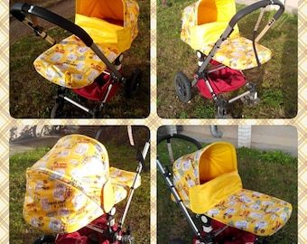 Teddy Bear Hood and Carrycot apron cover, canopy yellow ,Sun Canopy for Bugaboo Frog, Cameleon Stroller