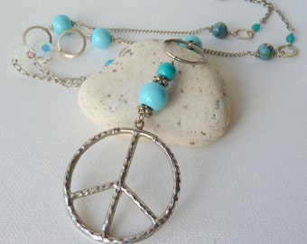 60's-70's Peace Sign Necklace, Blue Glass Silver Peace Necklace, Long Trendy Repurposed Necklace, Assemblage Jewelry, Chunky Peace Pendant