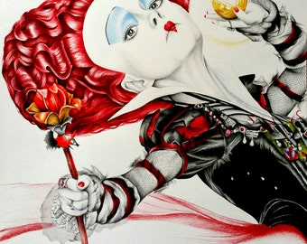 The Red Queen: Alice In Wonderland Pencil Portrait Drawing Print