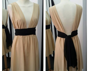Short Grecian dress beige and black