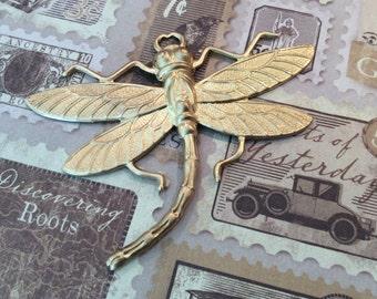 Raw brass dragonfly pendant 1 PC
