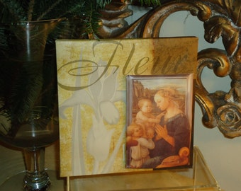 Handmade Mixed Media Canvas, Madonna with Child and Angels, Reproduction Italian Art