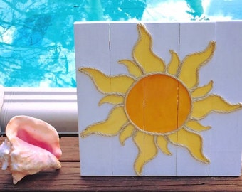 Handmade Sun with Rope Beach Pallet Art Coastal Decor