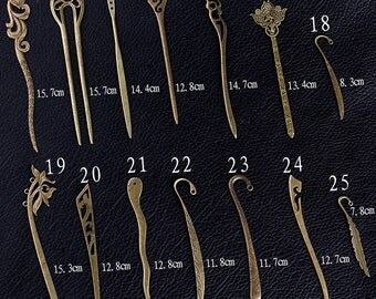 10pcs 14 Desings For Choose Antique Bronze Hair Sticks BookMark Kanzashi F0011