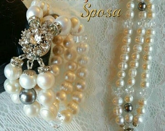 WHITE PEARL WEDDING BRACELET SWAROVSKI CLOSURE