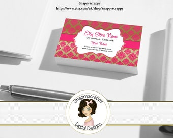 Business Cards, Premade Business Card, Printable Business Card, Digital Business Card Template - Pink Gold Damask