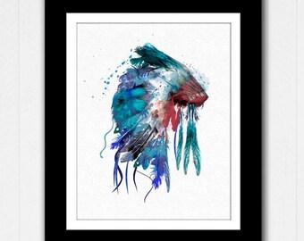 Native American Headdress Watercolor Art Painting - Buy 2 get one Free