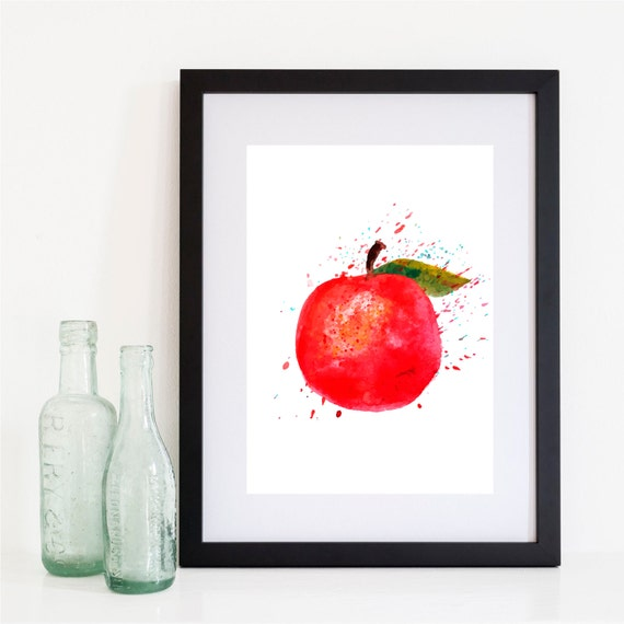 Apple Print Red Apple Poster Kitchen Print Kitchen Art