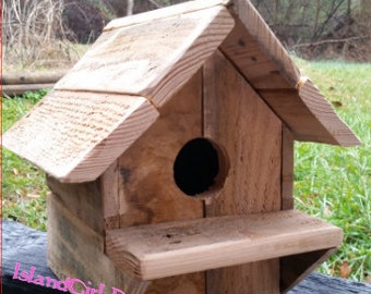 Rustic Reclaimed Wood Birdhouse - Fathers Day - Gift for Him - Pallet Wood- Bird House - Recycled- Handmade- Country Chic- Barnwood- Outdoor